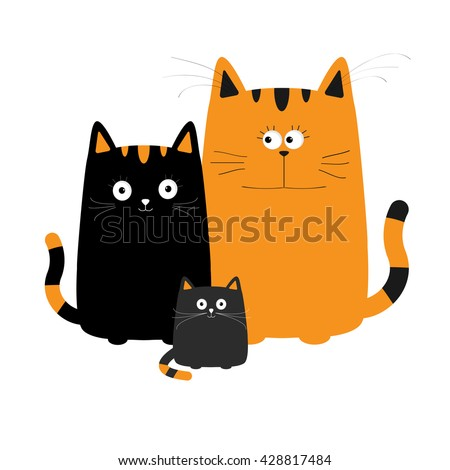 Cute cartoon cat family. Mother, father and baby boy kitten. Big mustache whisker. Funny character set. Happy family. Love greeting card. Flat design. White background. Isolated. Vector illustration - stock vector
