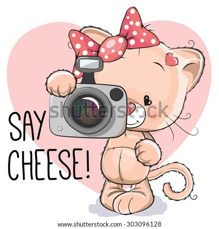 Cute cartoon cat girl with a camera on a white background  - stock vector