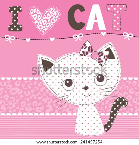 cute cartoon cat vector illustration - stock vector