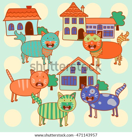 Cute cartoon cats and houses in vector