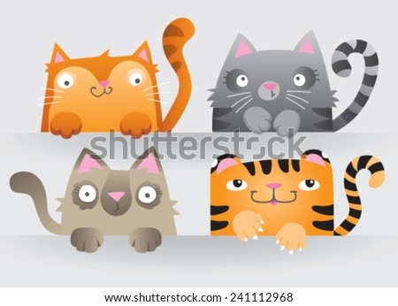 Cute cartoon cats peering over a wall. Vector Illustrations. - stock vector