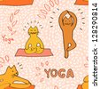 Cute cartoon cats practicing yoga pink seamless pattern, vector - stock vector