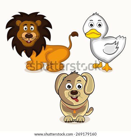 Cute cartoon character of smiling lion with dog and white duck. - stock vector