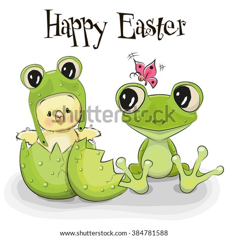 Cute Cartoon Chick in a frog hat and a frog - stock vector