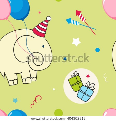 Cute cartoon childish seamless pattern with elephant and gift in vector.