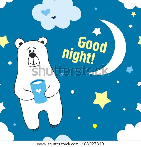 Cute cartoon childish seamless pattern with little bear in vector. - stock vector