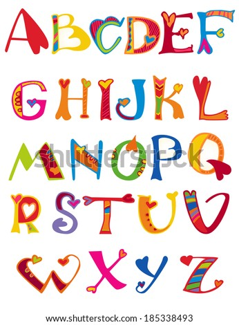 Cute Cartoon Childrens Alphabet Design In A Colorful Style