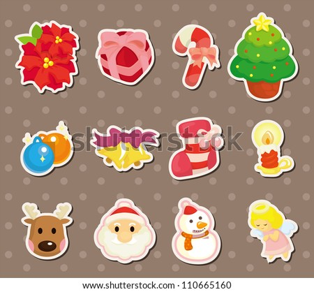 cute cartoon Christmas element stickers - stock vector