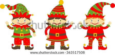 cute cartoon christmas elves