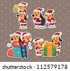 cute cartoon Christmas Holiday,animal santa, stickers - stock vector