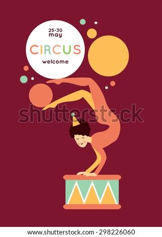 Cute cartoon circus collection. Beautiful circus poster with acrobat - stock vector