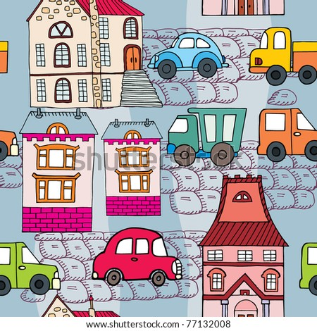 cute cartoon city. seamless pattern