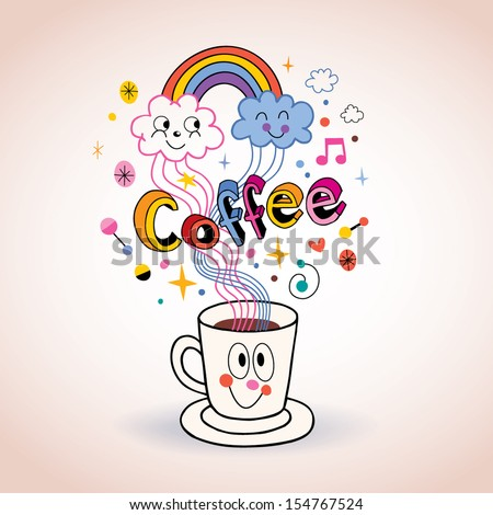 Cute cartoon coffee cup illustration - stock vector