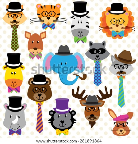 Cute Cartoon Collection of Well Dressed Animals - stock vector