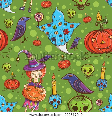 Cute cartoon colorful halloween vector seamless pattern with girl dressed as a witch, ghost, raven, pumpkin, skull, candle. eps 10  - stock vector