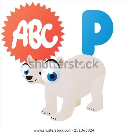 cute cartoon comic isolated vector animal abc: P is for Polar Bear - stock vector