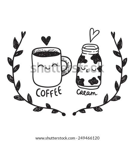 cute cartoon couple - coffee and cream - stock vector