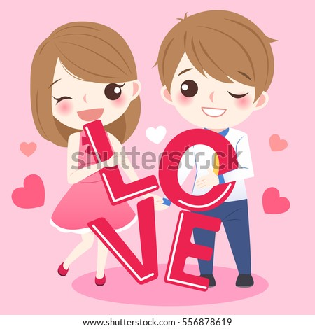 Cute Cartoon Couple Take Love Word And Smile Happily