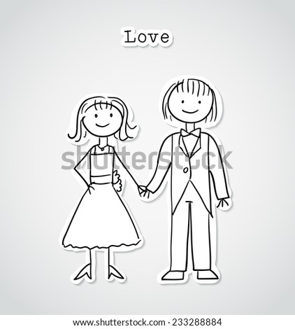 Cute cartoon couple, vector illustration in sticker style - stock vector