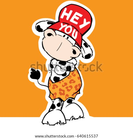 cute cartoon cow funny vector illustration/character design/fashion graphic/T-shirt graphics