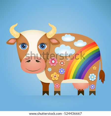 Cute Cartoon Cow with a Decorative Ornament on his Body. Vector Illustration.