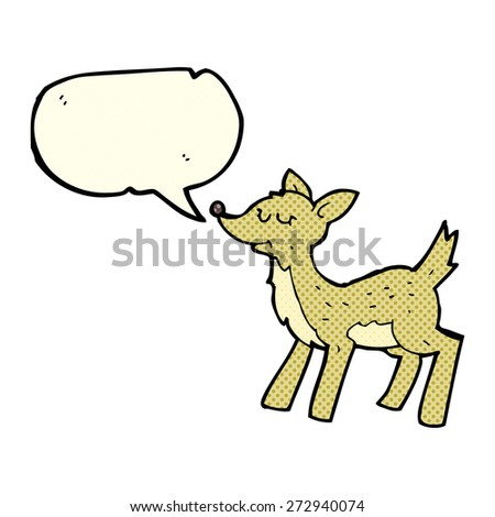 cute cartoon deer with speech bubble - stock vector