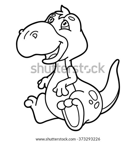 cute cartoon dinosaur outline vector illustration of cute cartoon dinosaur character for children coloring