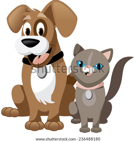 Cute cartoon dog and cat isolated on white EPS 10 vector illustration - stock vector