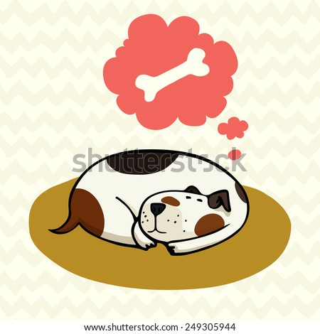 Cute cartoon dog, sleeping on the mat and dreaming about bone. Hand drawn doodle spotted dog isolated on doodle chevron background. - stock vector