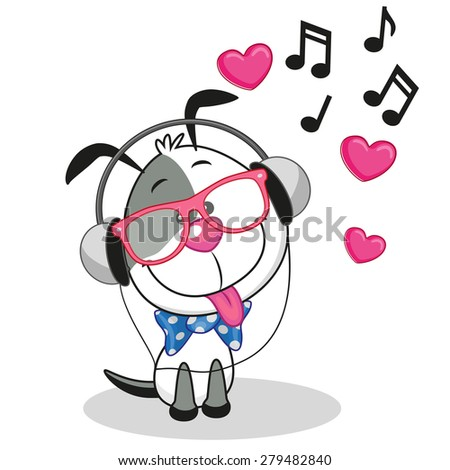 Cute cartoon Dog with headphones  - stock vector