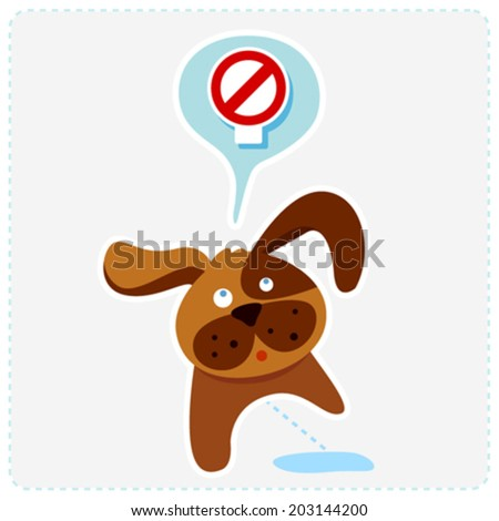 cute cartoon dog with sign icon - vector illustration - stock vector