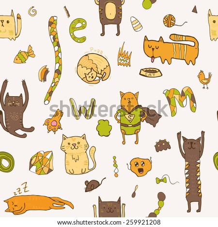 cute cartoon doodle cats seamless pattern with letters fish and mouse