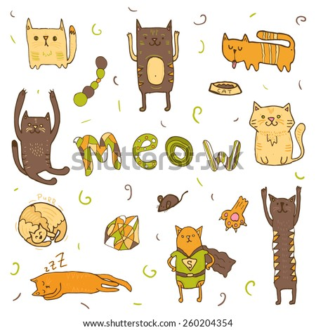 meow word doodle letters mouse and fish