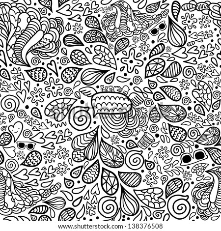 Cute cartoon doodle hipster seamless pattern. Pattern for your design, wallpaper, background, fabric textile. - stock vector
