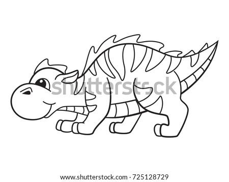 Cute Cartoon Dragon Page Coloring Book Stock Vector 725128729 ...