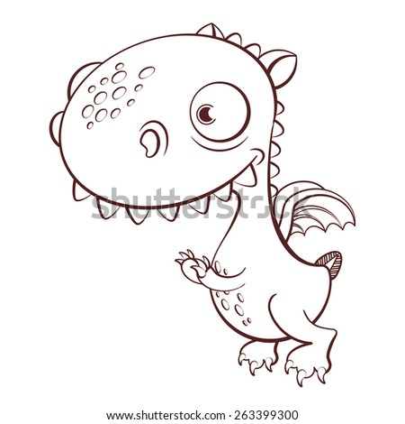 cute cartoon dragon with big head and small wings - stock vector