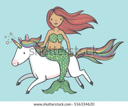 Cute Cartoon Drawing Of A Mermaid Riding Unicorn