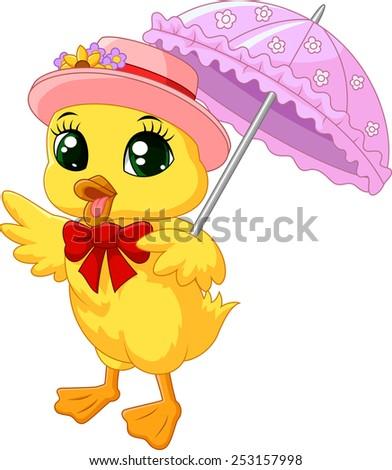 Cute cartoon duck with pink umbrella - stock vector