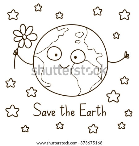 Cute cartoon Earth for coloring book