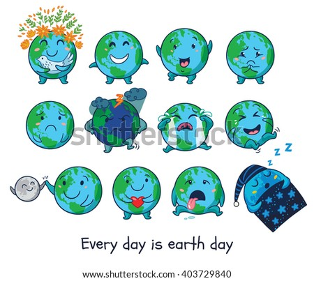 Cute cartoon Earth globe with emotions