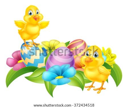 Cute Cartoon Easter Chicks, Easter Eggs and spring flowers cartoon design element  - stock vector