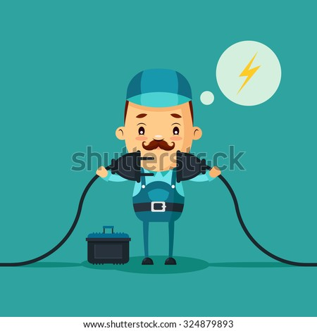Cute Cartoon Electrician Connecting a Power Cord. Vector Illustration