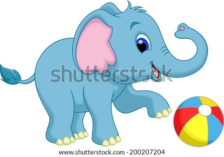 cute cartoon elephant playing ball - stock vector