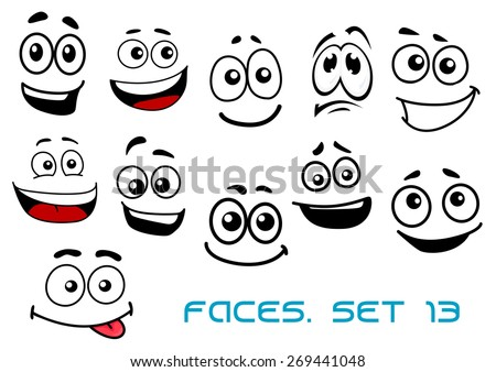 Cute cartoon emotional faces with toothy, shy, teasing and sad smiles isolated on white background for comics or avatar design - stock vector