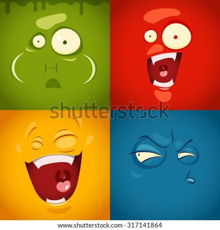Cute cartoon emotions fear, disgust, laugh, suspicion- vector illustration - stock vector