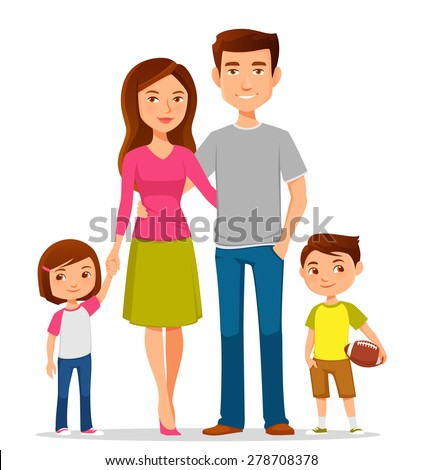 cute cartoon family in colorful casual clothes - stock vector