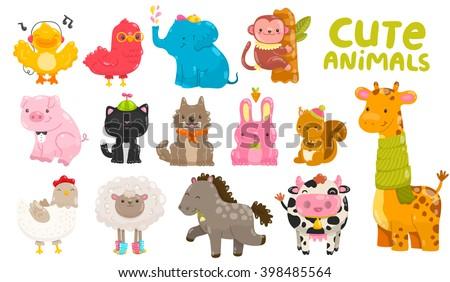 Cute cartoon farm and wild animals. Duck, cow, elephant, bird, monkey, pig, cat, dog, bunny, squirrel, giraffe, chicken, sheep, horse. - stock vector