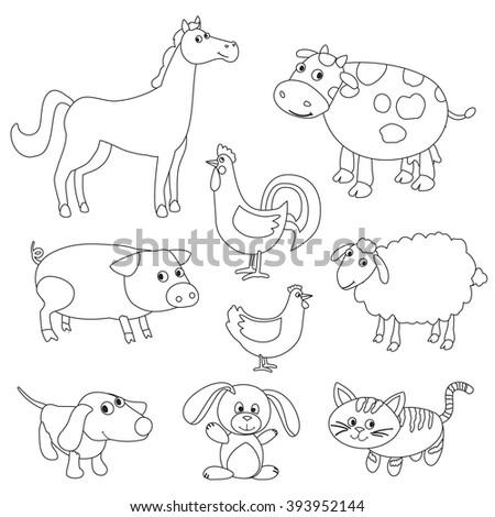 Farm Animal Coloring Book : Coloring book cartoon farm animals vector stock 328675055