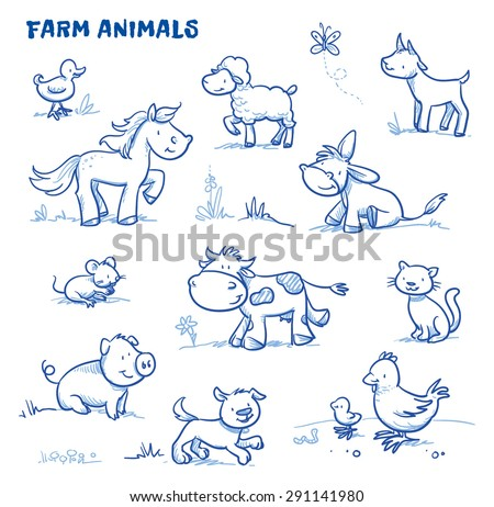 Cute cartoon farm animals. duck, horse, sheep, goat, donkey, cow, mouse, pig, dog, cat, chick. Hand drawn doodle vector illustration. - stock vector