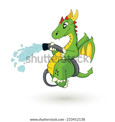 cute cartoon fire fighter dragon vector illustration - stock vector